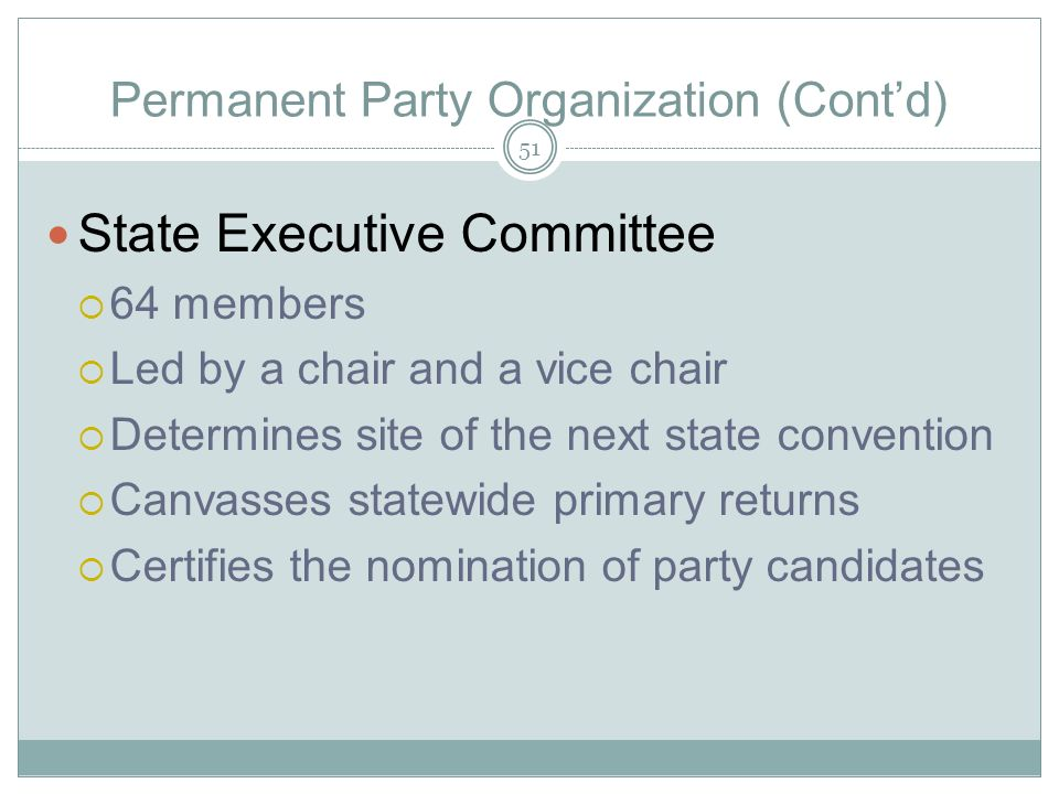 Permanent Party Organization (Cont'd)