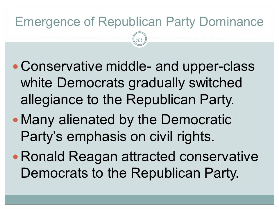 Emergence of Republican Party Dominance