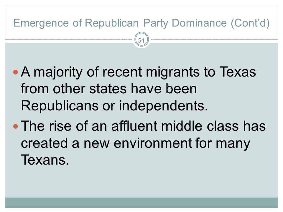 Emergence of Republican Party Dominance (Cont'd)