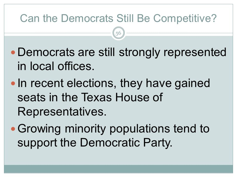 Can the Democrats Still Be Competitive