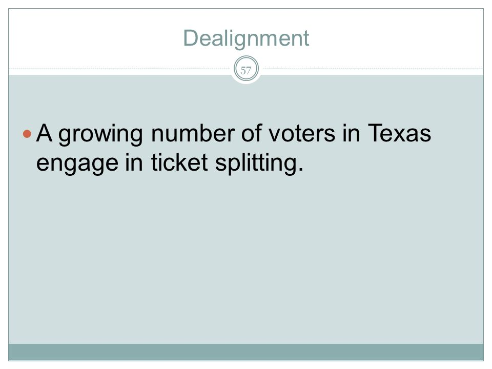 A growing number of voters in Texas engage in ticket splitting.