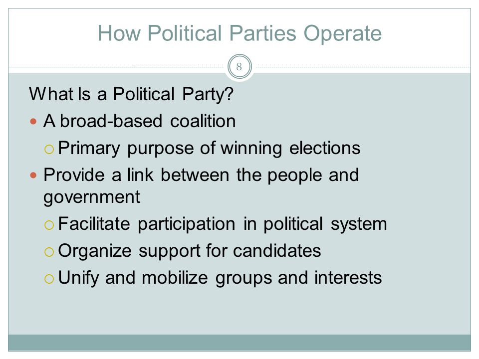 How Political Parties Operate