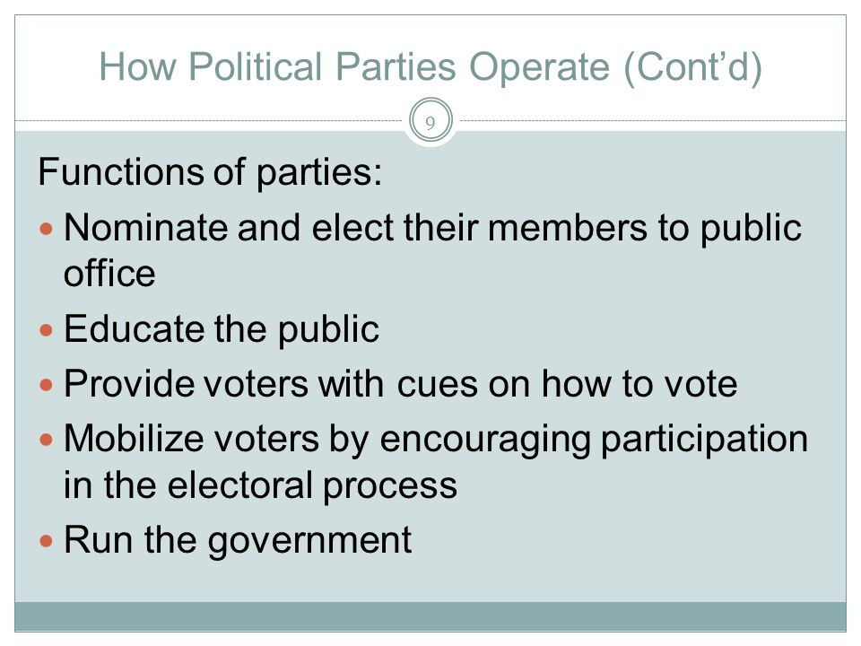 How Political Parties Operate (Cont'd)