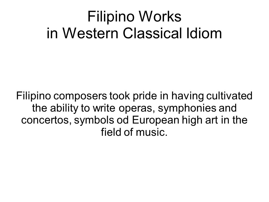 Filipino Works in Western Classical Idiom