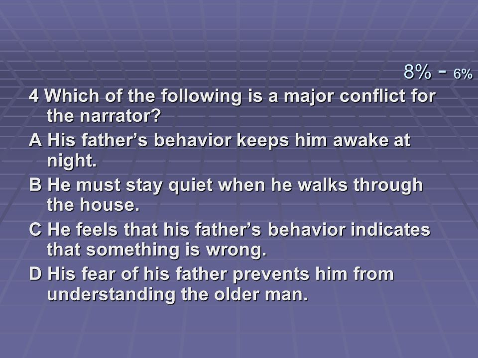 8% - 6% 4 Which of the following is a major conflict for the narrator