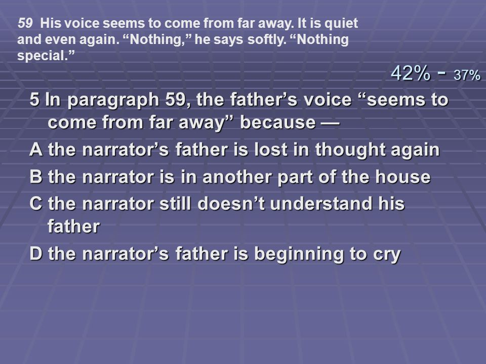 59 His voice seems to come from far away. It is quiet and even again