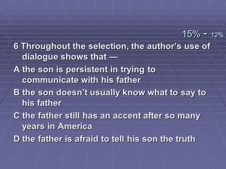 15% - 12% 6 Throughout the selection, the author's use of dialogue shows that — A the son is persistent in trying to communicate with his father.