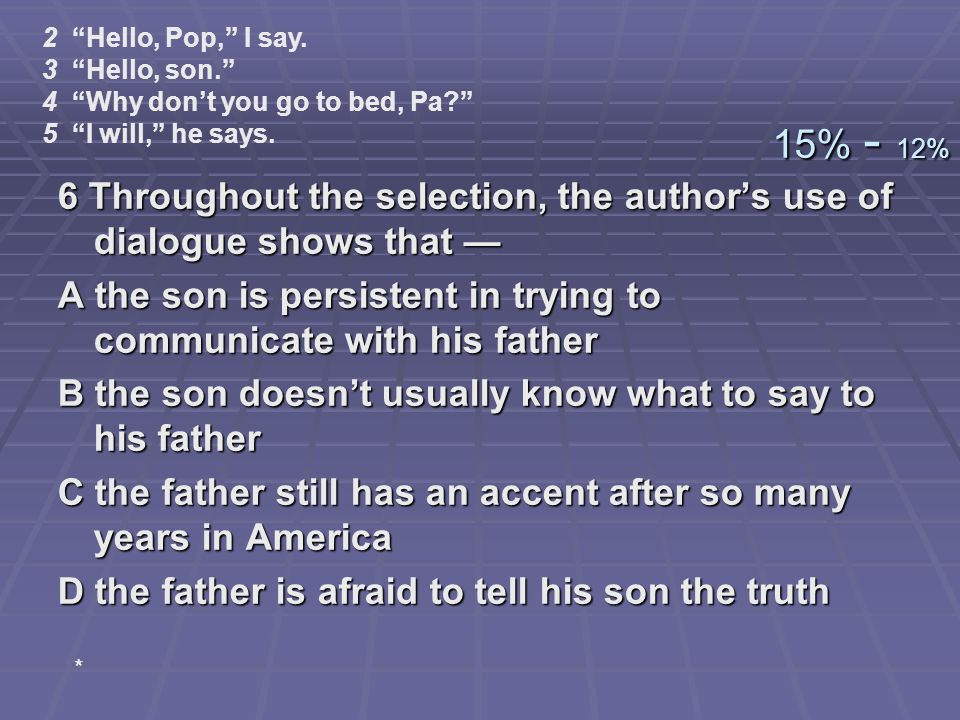 2 Hello, Pop, I say. 3 Hello, son. 4 Why don't you go to bed, Pa 5 I will, he says. 15% - 12%
