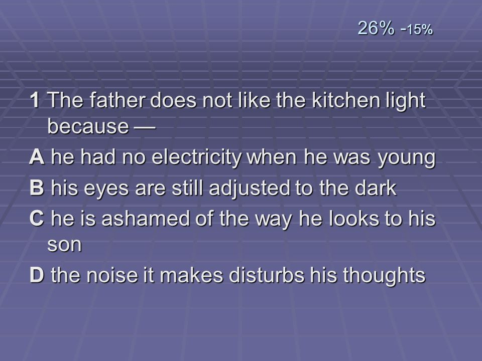 1 The father does not like the kitchen light because —