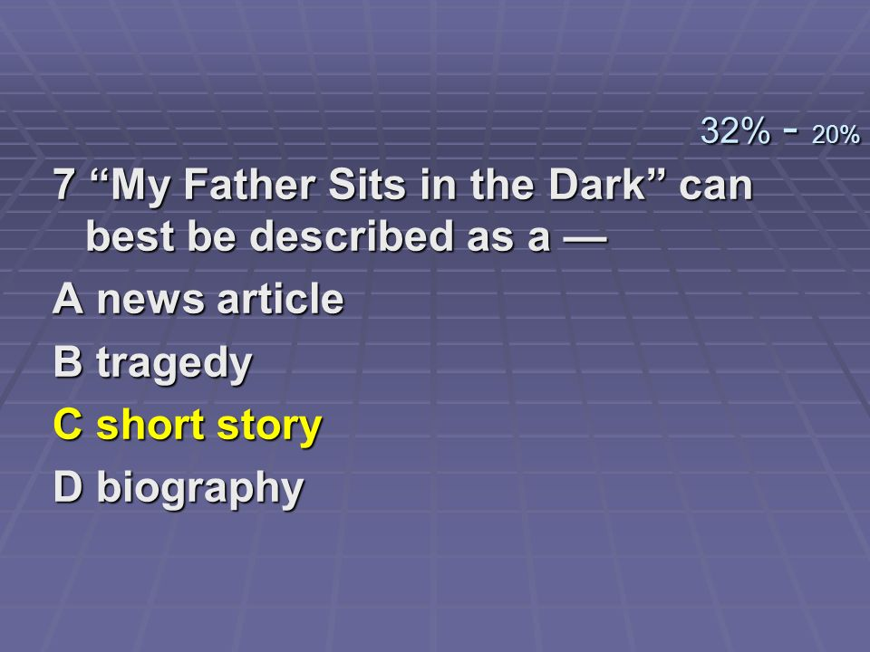 7 My Father Sits in the Dark can best be described as a —