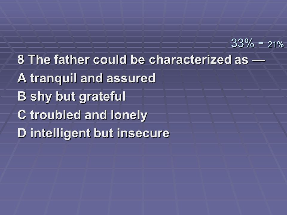 8 The father could be characterized as — A tranquil and assured