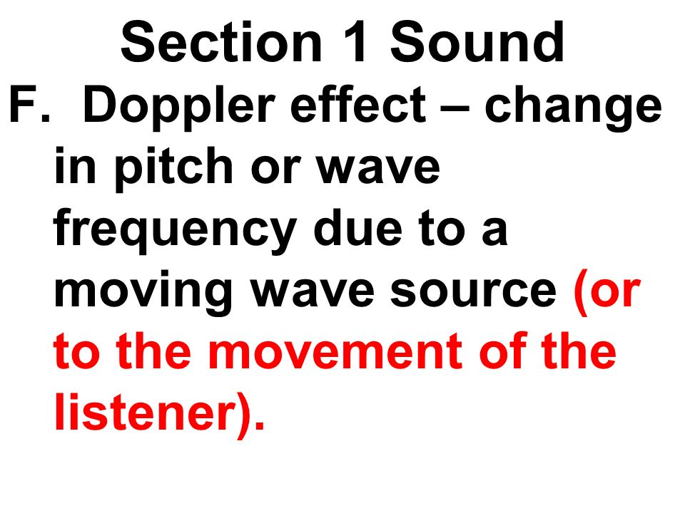 Section 1 Sound F.