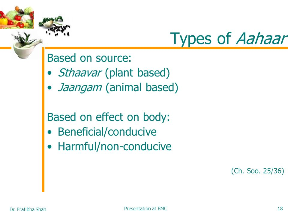 Types of Aahaar Based on source: Sthaavar (plant based)