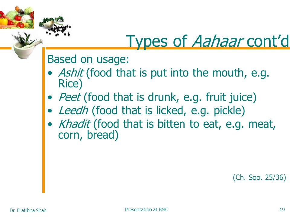 Types of Aahaar cont'd Based on usage: