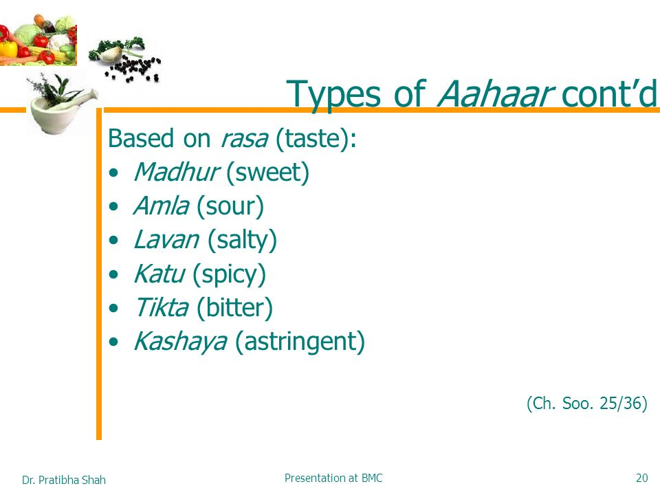 Types of Aahaar cont'd Based on rasa (taste): Madhur (sweet)
