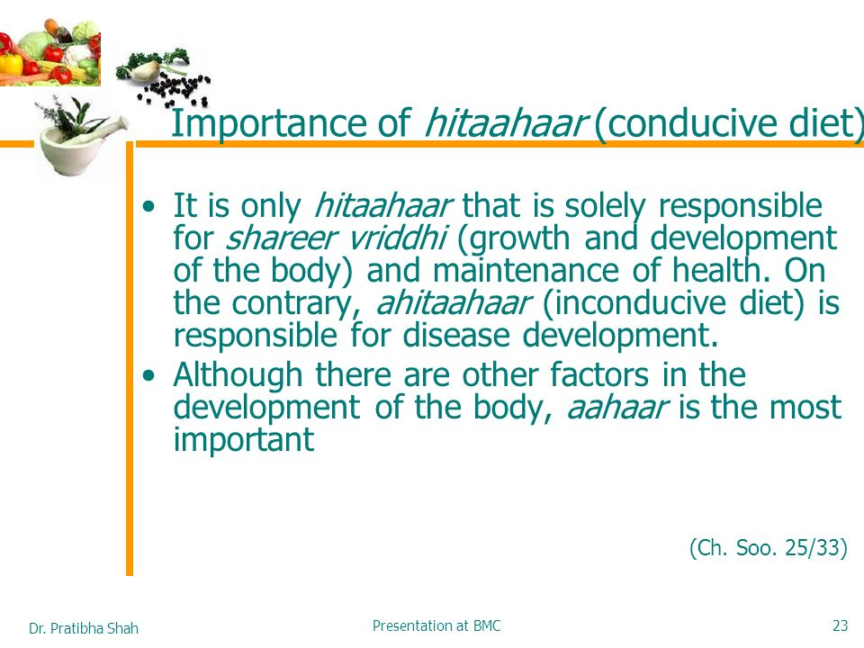 Importance of hitaahaar (conducive diet)