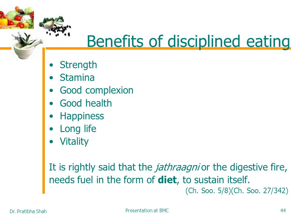 Benefits of disciplined eating