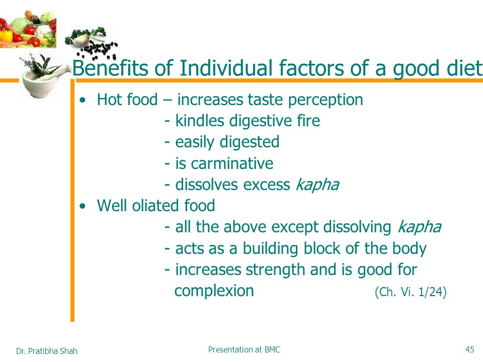 Benefits of Individual factors of a good diet
