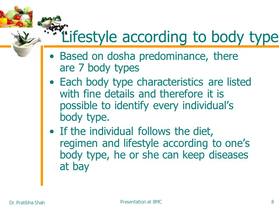 Lifestyle according to body type