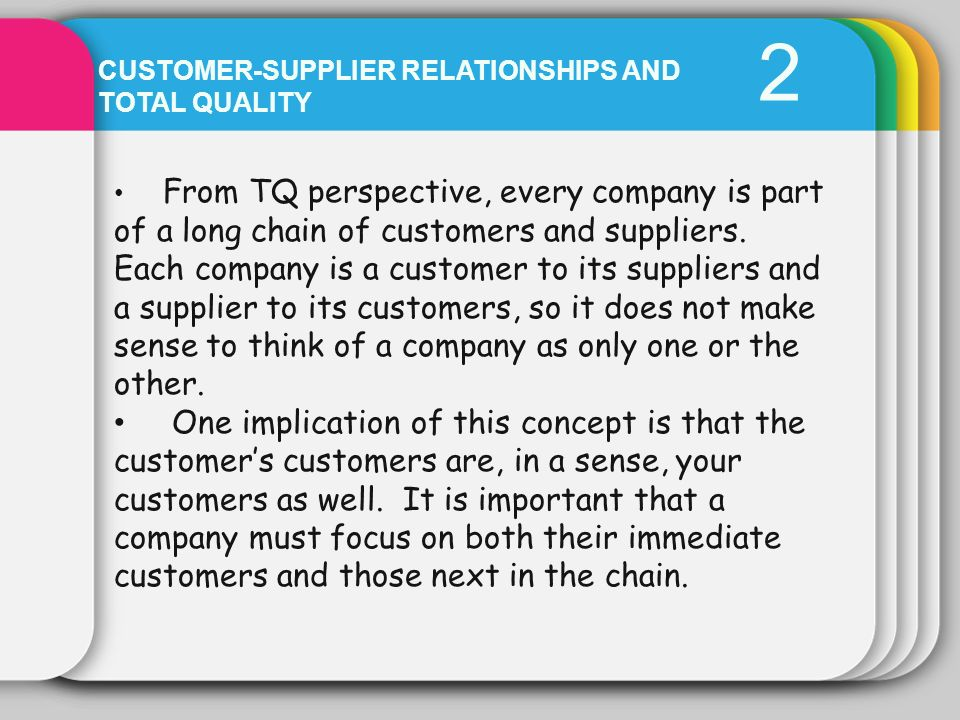 2 Customer-Supplier relationships and total quality.