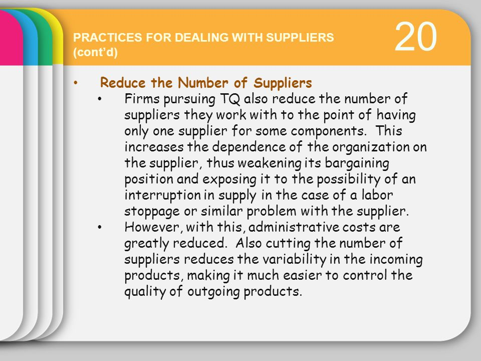 20 Reduce the Number of Suppliers