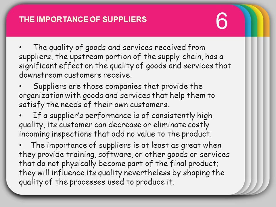 WINTER 6 Template THE IMPORTANCE OF SUPPLIERS