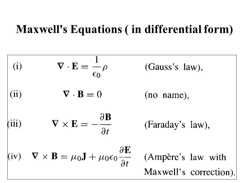 Maxwell s Equations ( in differential form)
