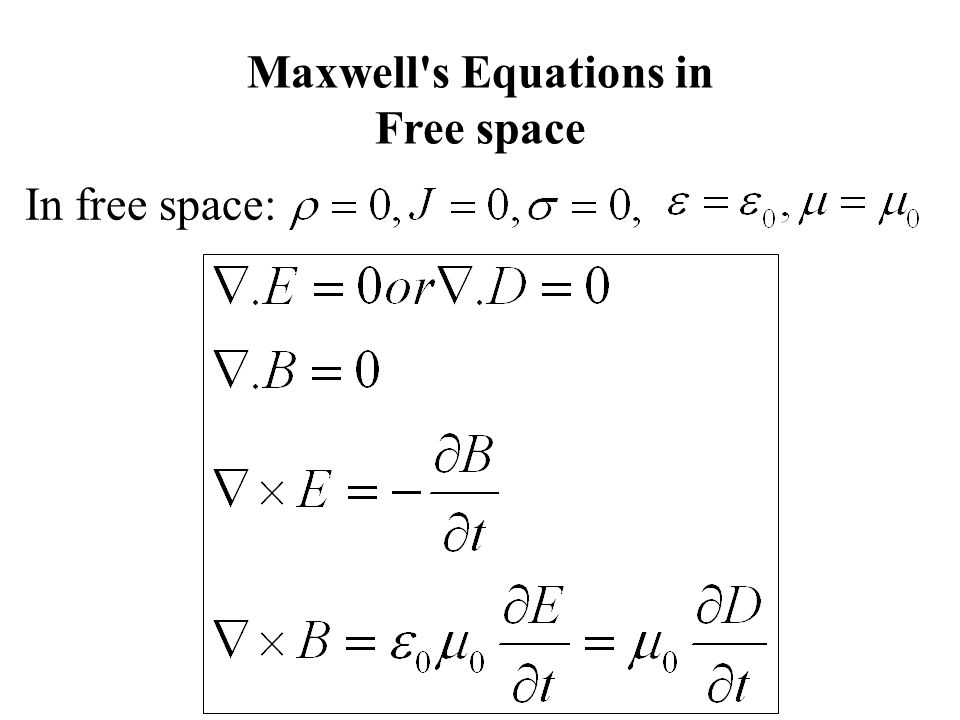 Maxwell s Equations in Free space In free space:
