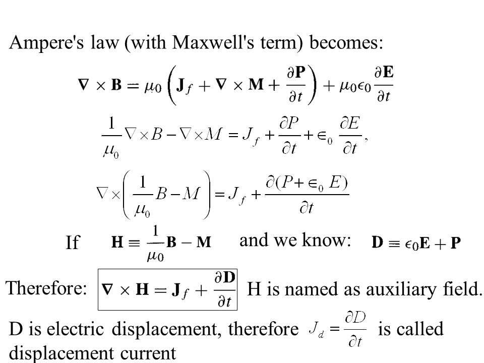 Ampere s law (with Maxwell s term) becomes: