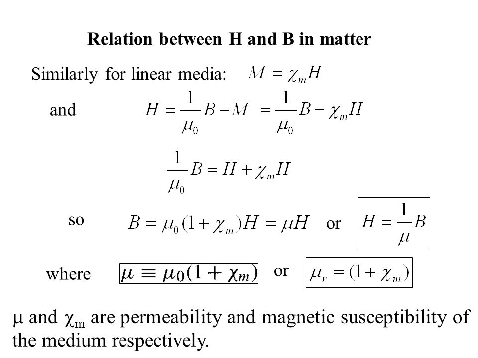 Relation between H and B in matter