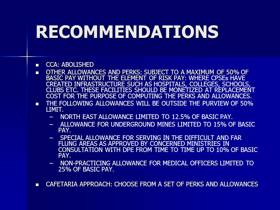RECOMMENDATIONS CCA: ABOLISHED