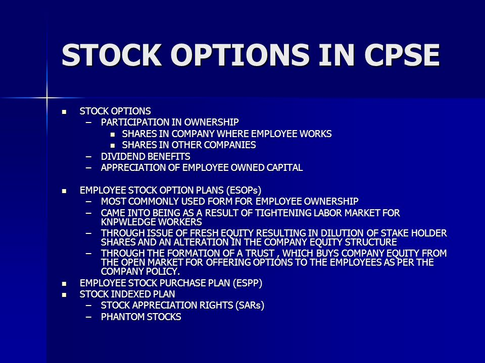 STOCK OPTIONS IN CPSE STOCK OPTIONS PARTICIPATION IN OWNERSHIP