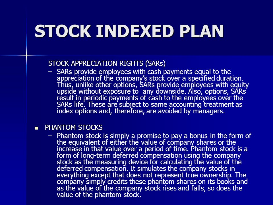 STOCK INDEXED PLAN STOCK APPRECIATION RIGHTS (SARs)