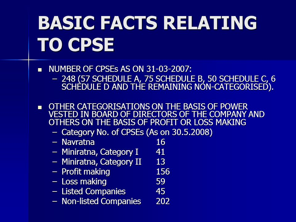 BASIC FACTS RELATING TO CPSE