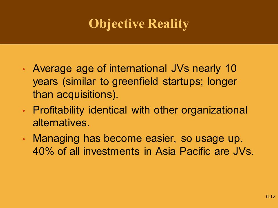 Objective Reality Average age of international JVs nearly 10 years (similar to greenfield startups; longer than acquisitions).