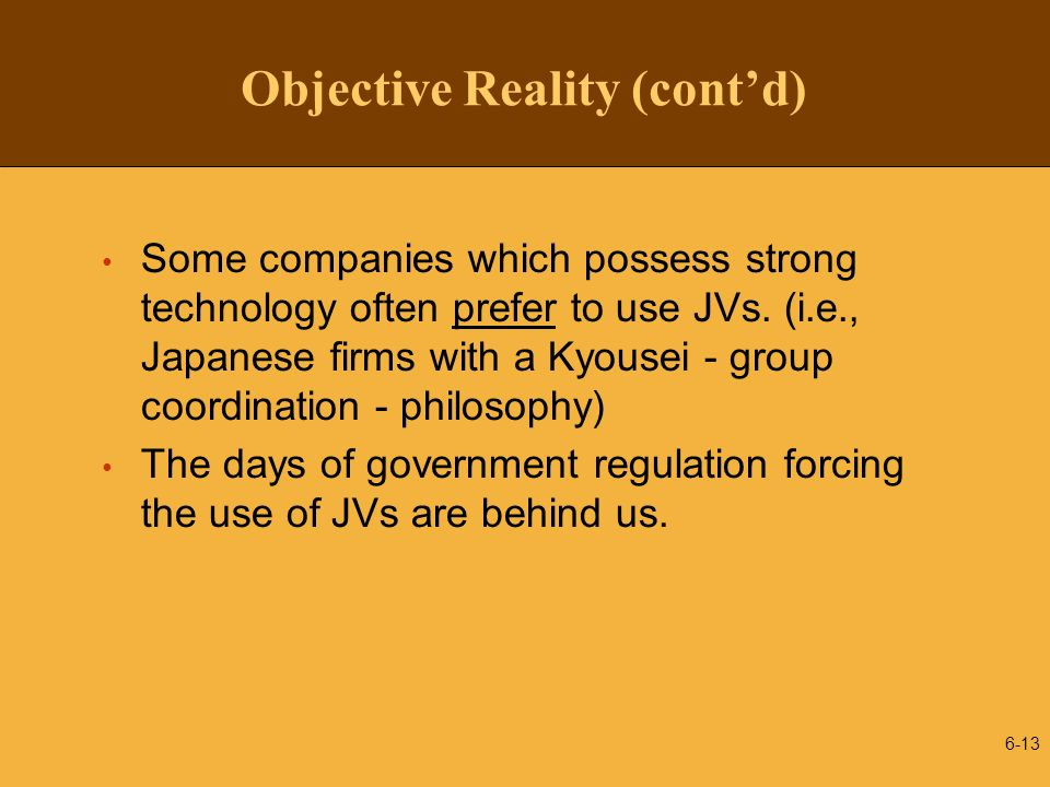 Objective Reality (cont'd)