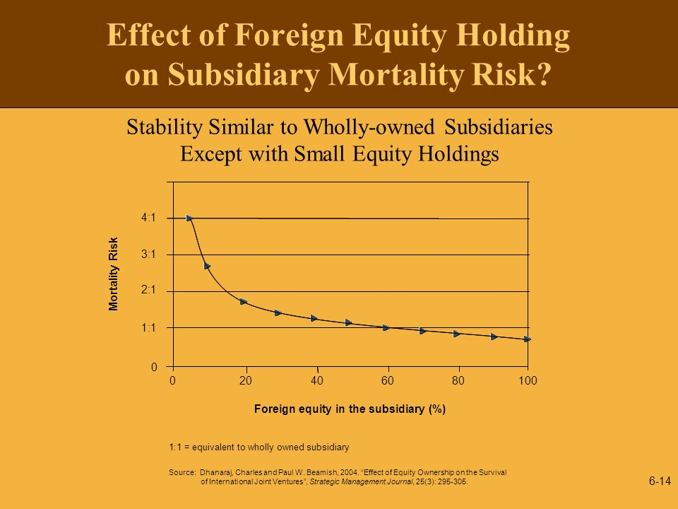 Effect of Foreign Equity Holding on Subsidiary Mortality Risk
