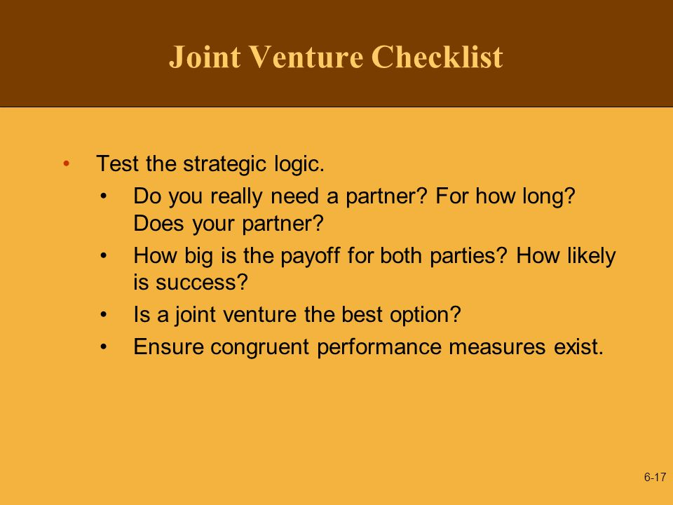 Joint Venture Checklist