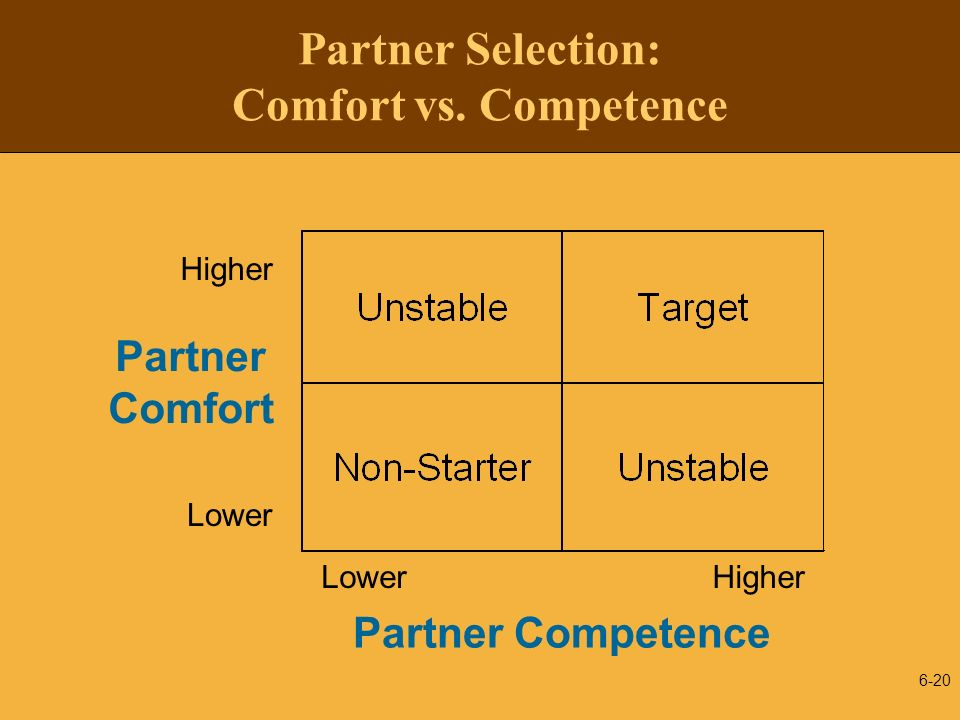 Partner Selection: Comfort vs. Competence