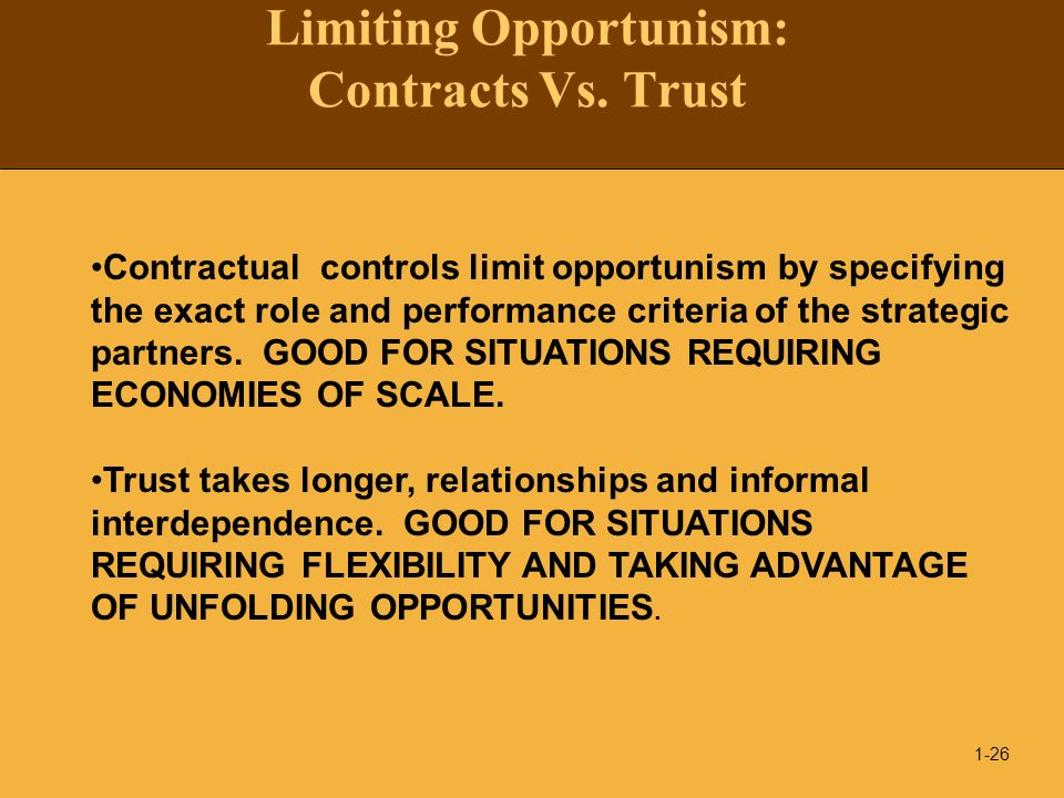 Limiting Opportunism: Contracts Vs. Trust