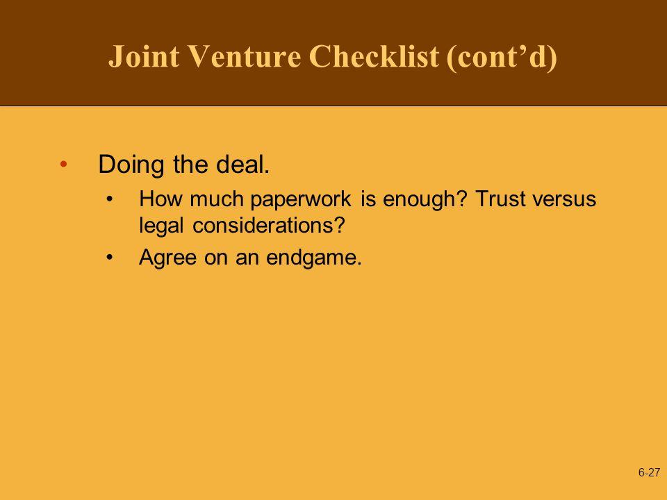 Joint Venture Checklist (cont'd)
