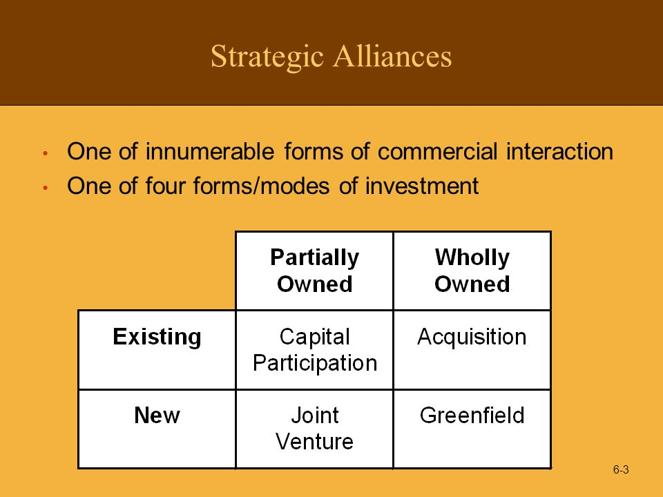 Strategic Alliances One of innumerable forms of commercial interaction