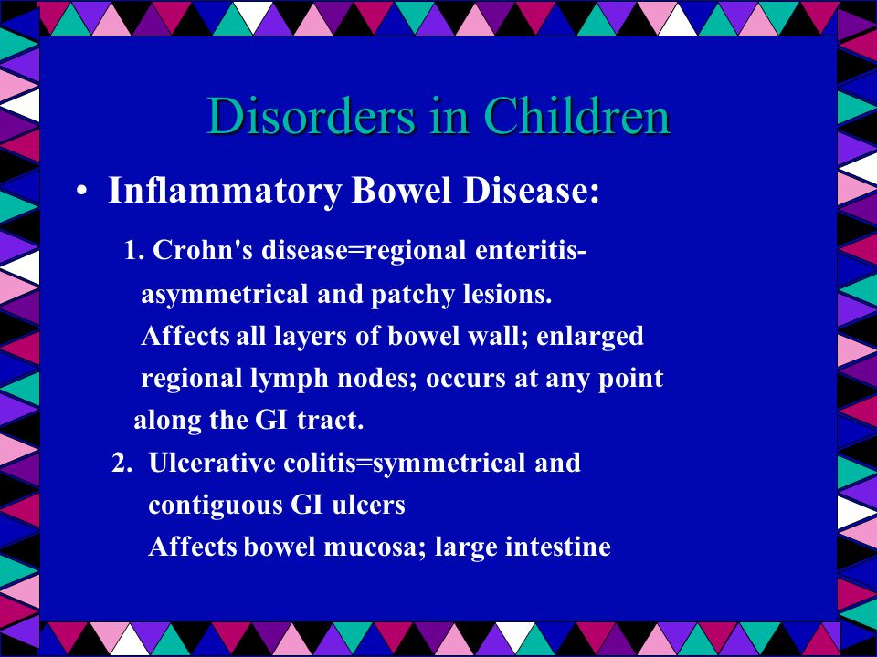 Disorders in Children Inflammatory Bowel Disease: