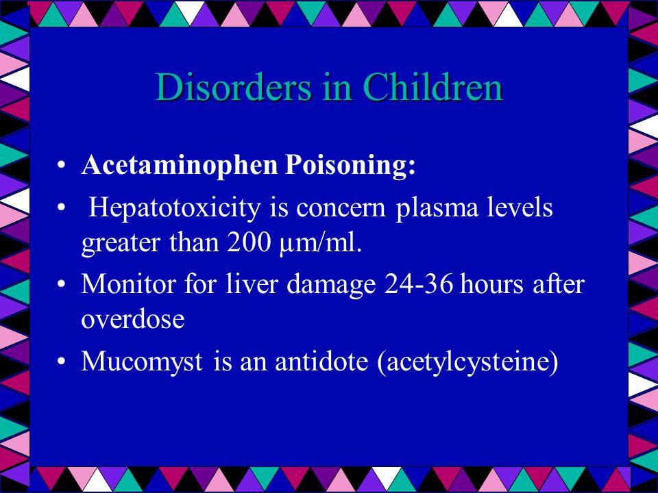 Disorders in Children Acetaminophen Poisoning: