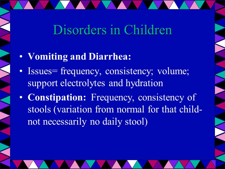 Disorders in Children Vomiting and Diarrhea: