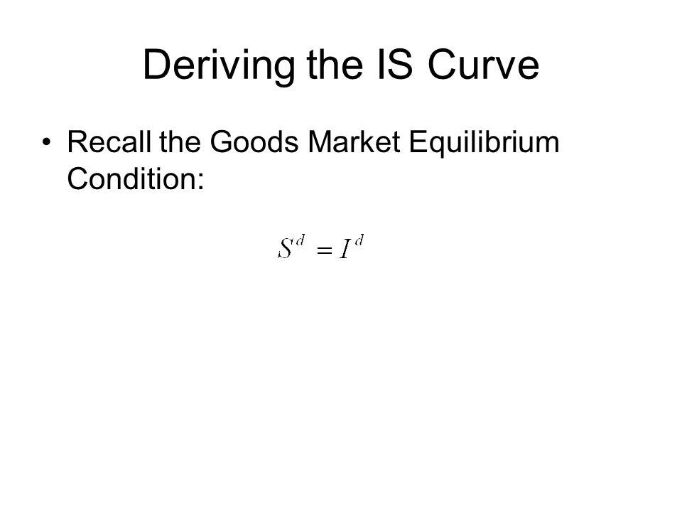 Deriving the IS Curve Recall the Goods Market Equilibrium Condition: