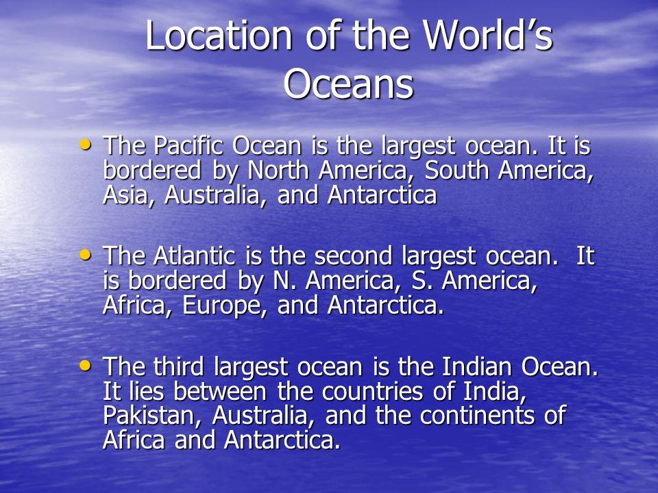 Location of the World's Oceans