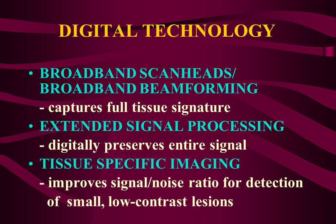 DIGITAL TECHNOLOGY BROADBAND SCANHEADS/ BROADBAND BEAMFORMING