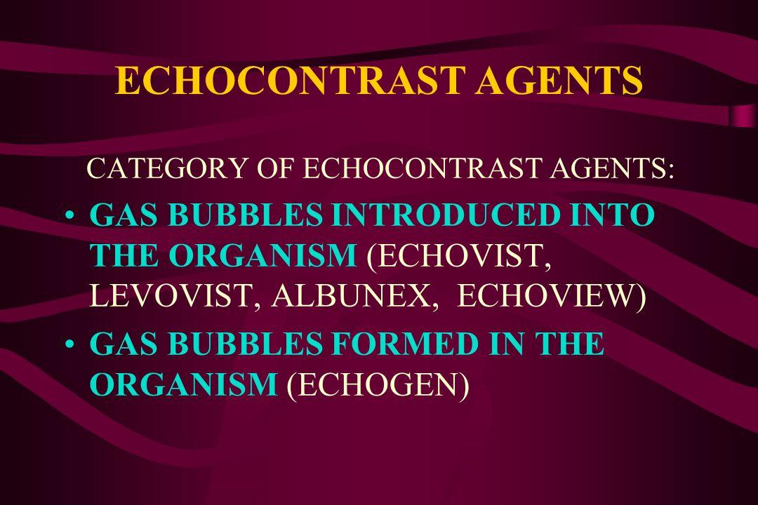 ECHOCONTRAST AGENTSCATEGORY OF ECHOCONTRAST AGENTS: GAS BUBBLES INTRODUCED INTO THE ORGANISM (ECHOVIST, LEVOVIST, ALBUNEX, ECHOVIEW)
