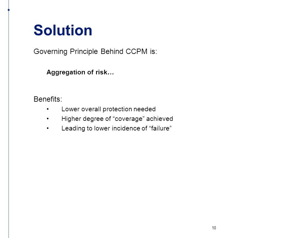 Solution Governing Principle Behind CCPM is: Benefits: